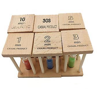 Wooden Hourglass 30 Seconds+1+2+3+5+10 Minutes Timer Set Custom Crafts Ornaments 6pcs