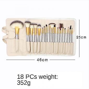 18pcs Silver Makeup Brush Set Eyeshadow Brush Loose Powder Brush Beauty Tool
