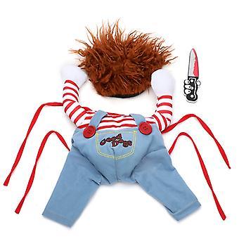 Tödliche Puppe Halloween Hundekostüme Lustige Haustierkleidung Einstellbare Cosplay Kleidung Set für mittelgroße Hunde Bulldogge Mops