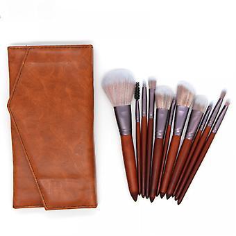 11pcs Solid Wood Handle Makeup Brush Set Eye Shadow Brush Blush Brush Beauty Tool