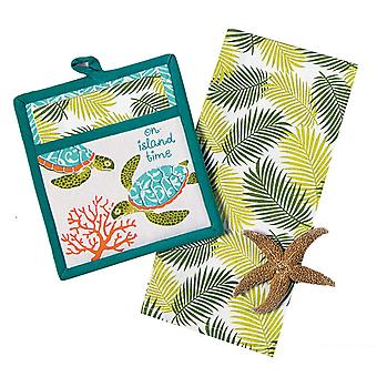 Island Time Sea Turtle Palm Fonds Kitchen Towel and Oven Mitt Two Piece Gift Set