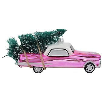 Christmas By Krebs Pink Vintage Car with Tree Holiday Glass 6.25 Inch Ornament