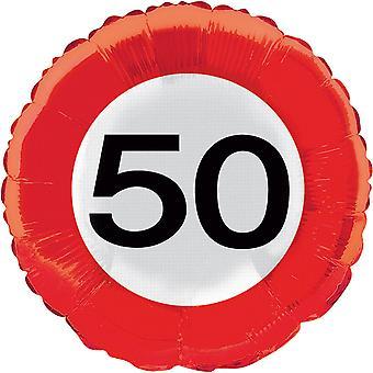 Folienballon Verkehrsschild Zahl 50 Geburtstag Helium Ballon Party