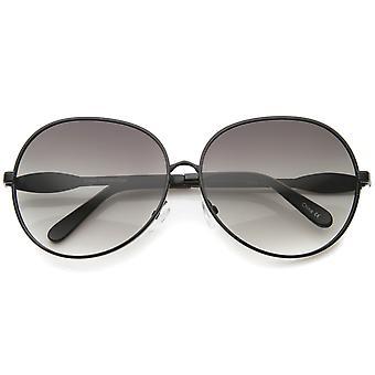 Womens Glam Metal Full Frame superdimensionados óculos redondos 63mm