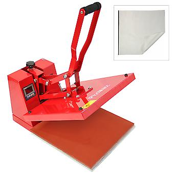 PixMax Sublimation Heat Press Machine (Flat 38cm x 38cm) & Teflon Sheet, Red