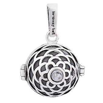 Mexican Bola Pendant Silver Flower Cage