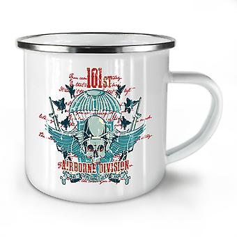 Airborne Division Skull NEW WhiteTea Coffee Enamel Mug10 oz | Wellcoda