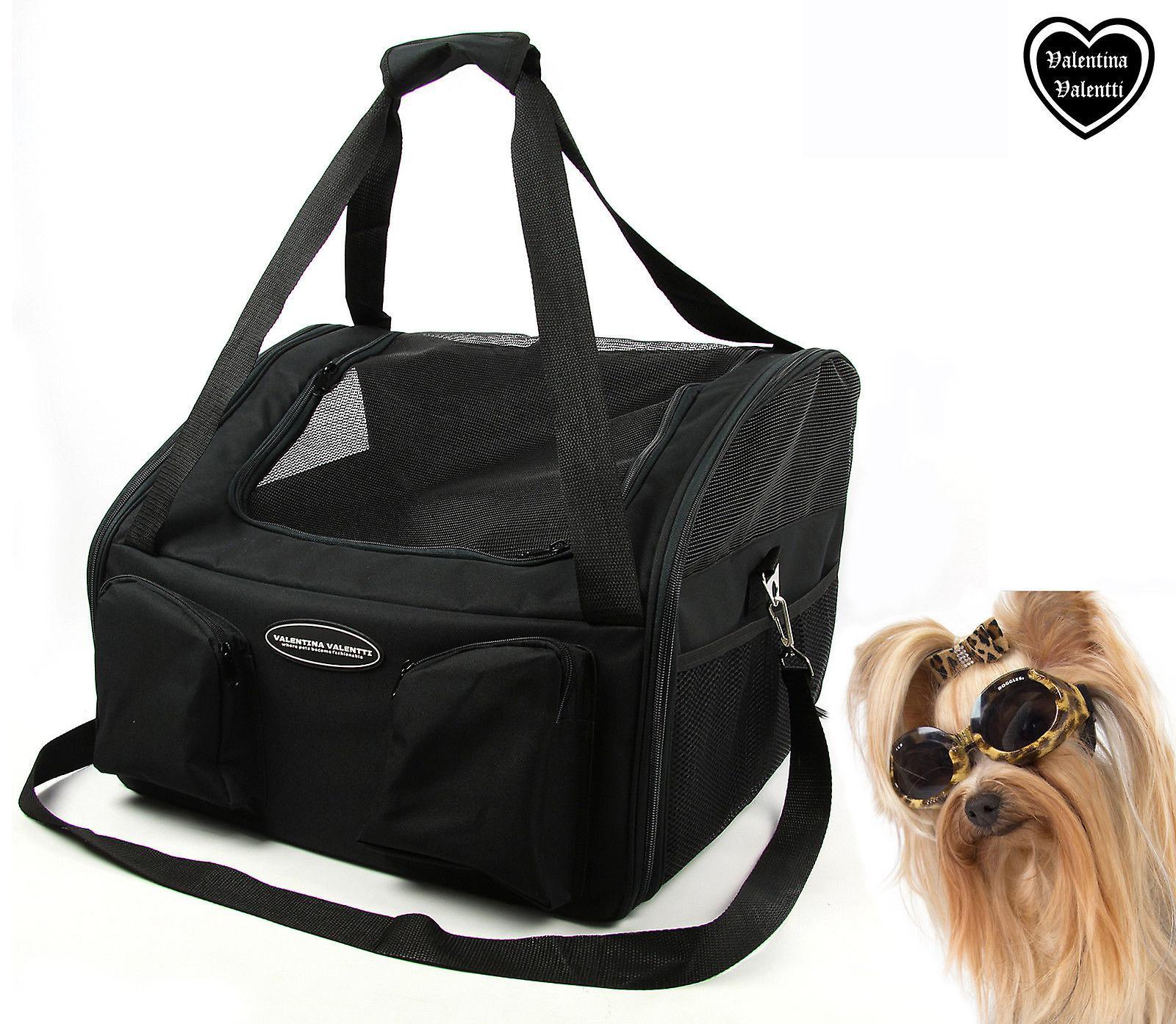 Valetina Valentti lusso cane gatto cucciolo animali seggiolino auto Carrier grande, nero V3