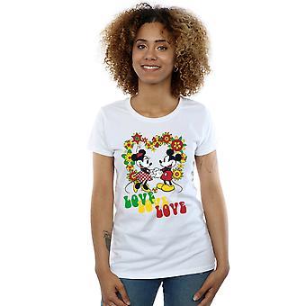 Disney vrouwen Mickey en Minnie Mouse Hippie Love T-Shirt