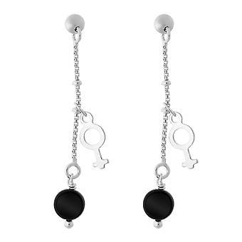 Orphelia Silver 925 Drop Earring Rond Zwart  ZO-5550