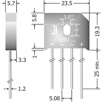 Diotec KBU6D Diode bro SIL 4 200 V 6 A 1-faset