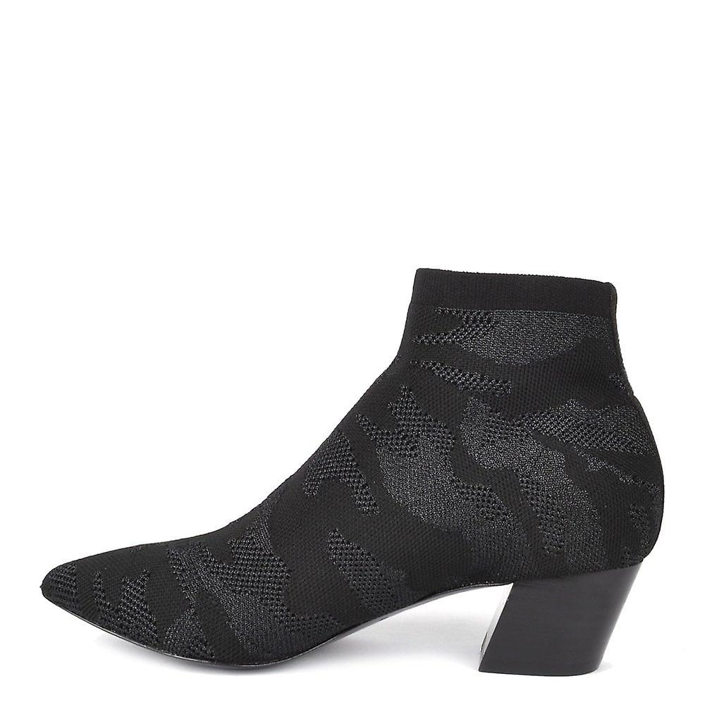 Ash Footwear Camille Black Knit Camo Print Ankle Boot