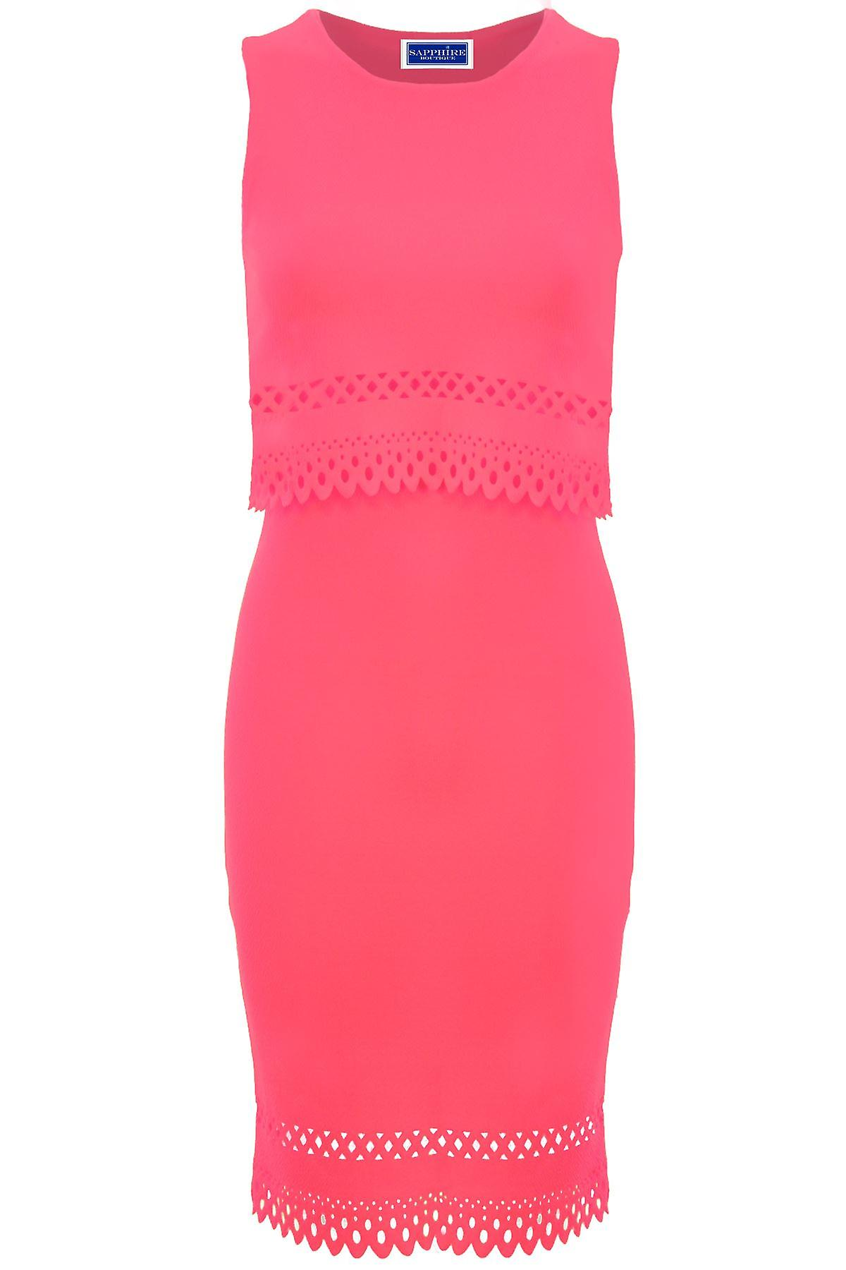 Ladies Overlay Cut Out Scallop Hem Crepe Midi Knee Length Neon Bodycon Dress