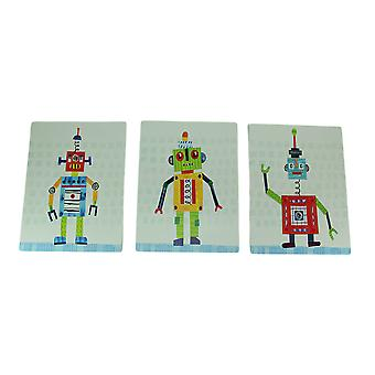 Set of 3 Bright Colorful Robot Art Prints