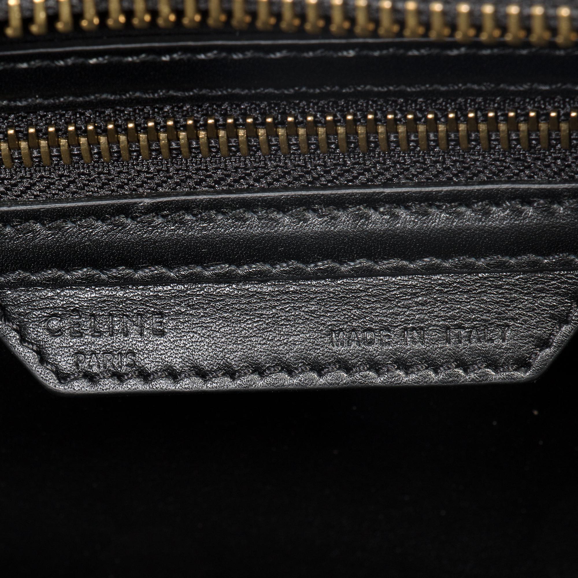 Celine mikro smaragd grønne Python svart skinn veske