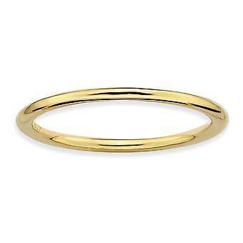 925 sterling silver stapelbara uttryck guld-blixtrade polerad Ring-Ring storlek: 5 till 10