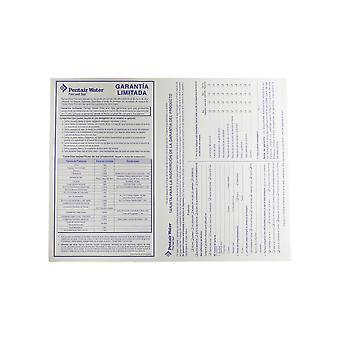 Pentair Water zwembad en Spa Tarjeta De Registracion de Garantia En Español