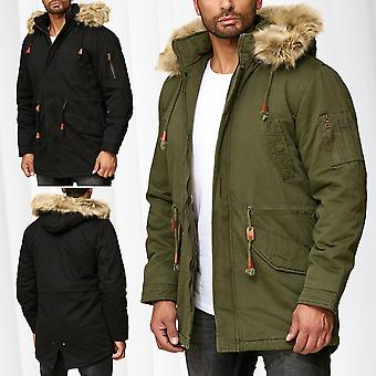 Mens Parka Winter Jacket Coat Lined Jacket Fur Hood Fake Fur Outdoor