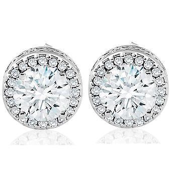 2 1/4 ct rund diamant Halo skruv tillbaka Vintage 14k vitguld dubbar Enhanced
