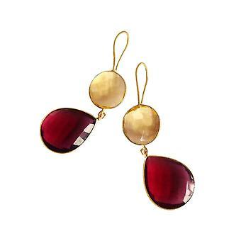 Gemshine örhängen Citrin och röda kvarts droppar i 925 silver eller guldpläterad