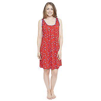 Cyberjammies 4130 kvinnors Mia Red blommig Print natt klänning Loungewear nattlinne