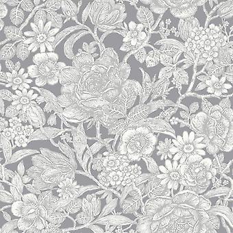 Grey Floral Metallic Shimmer Wallpaper Flower Leaves Stem Luxury Hedgerow Crown
