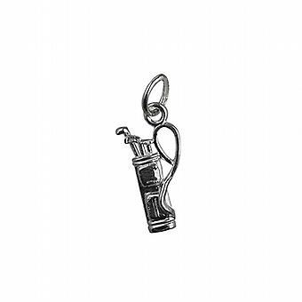Silver 15x9mm Golf Bag and Clubs Pendant or Charm