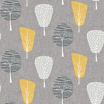 Retro Tree Grey Yellow Wallpaper Forest Floral Botanical Woodland Arthouse Ochre