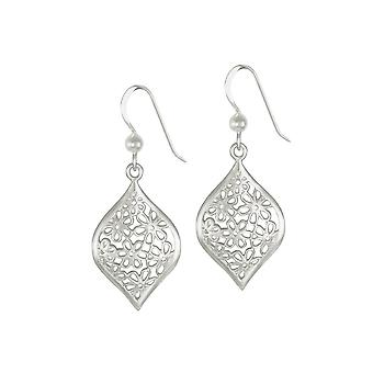 Eternal Collection Aster Sterling Silver Floral Drop Pierced Earrings