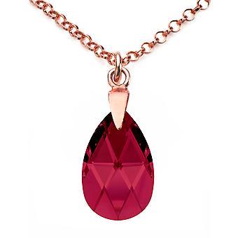 Ah! Juwelen Rose goud Over zilver Ruby kristallen van Swarovski Pear ketting