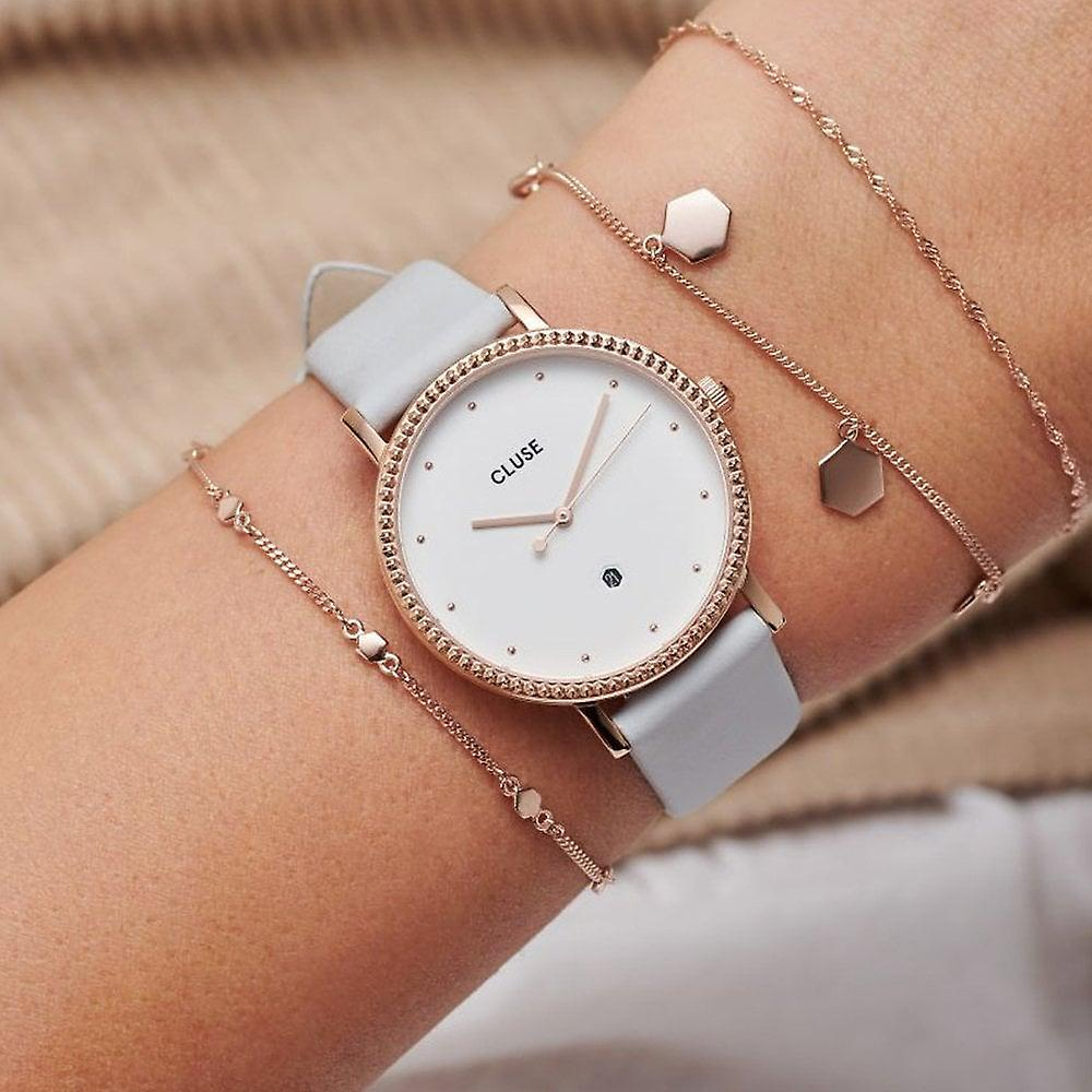 Cluse Cl63001 Le Couronnement Rose Gold & Soft Grey Leather Ladies Watch