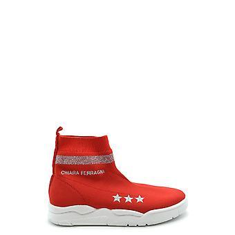 Chiara Ferragni Ezbc174005 Femmes-apos;s Red Fabric Hi Top Sneakers