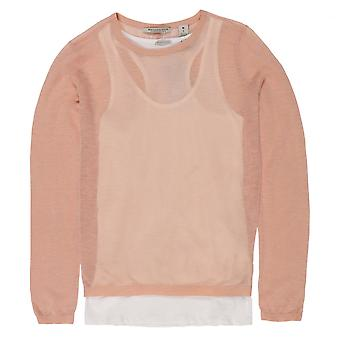 Maison Scotch Lightweight Summer Sheer Knit Top, Peach Cream