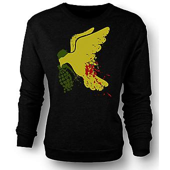 Mens Sweatshirt Peace Not War Dove Grenade - Funny