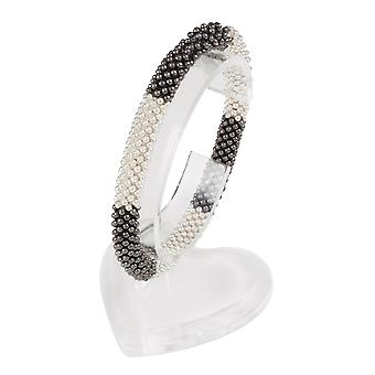 Eternal Collection Corsica Silver And Gunmetal Stretch Beaded Bracelet