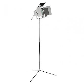 Premier Home Spotlight Chrome Floor Lamp With EU Plug, Chromed Metal, Black