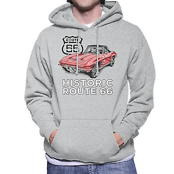Route 66 Historic Sports Car Men's Hooded Sweatshirt