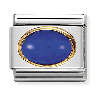 Nomination Classic Oval Stone Steel, Lapis Lazuli and 18k Gold Link Charm 030502/09