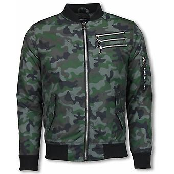 Bomber Jacket-Camouflage Print with 3 zippers-green