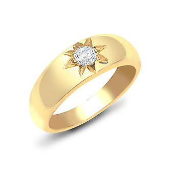 Jewelco London Men's Solid 9ct Yellow Gold Gypsy Set Round H I1 0.25ct Diamond Domed Band Solitaire Ring 7mm