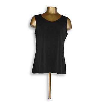 Susan graver vrouwen ' s top metallic Knit Cowl-nek tuniek zwart A345898