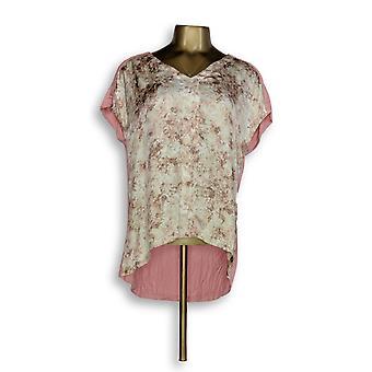 H by Halston naiset ' s Top XXS painettu V-kaula w/Jersey neulo takaisin vaaleanpunainen A274543