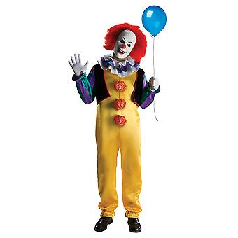 Adults Pennywise Costume With Clown Mask It Scary Halloween Fancy Dress