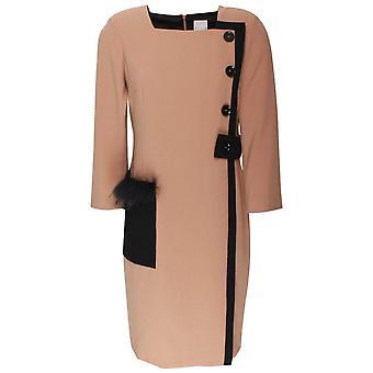 Paola Collection Square Neck & Button Detail Shift Dress