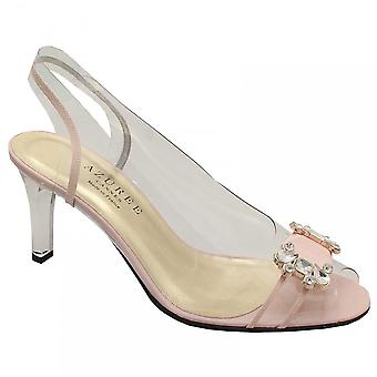 Azuree Nude Perspex Dress Sandals With Jewel Bow