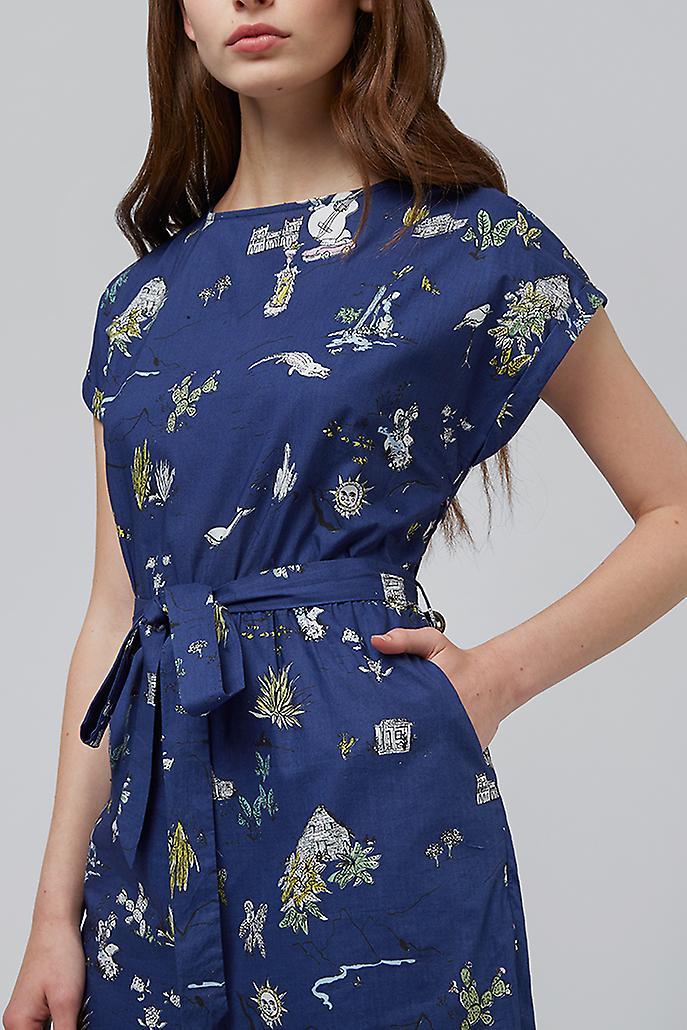 Louche Lison Holiday Print Short Sleeve Tie Waist Jumpsuit Navy