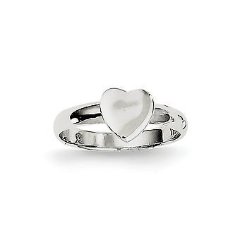 925 Sterling Silber poliert Liebe Herz Ring - Ring Größe: 3 bis 4