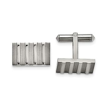 Titanium Polished and Brushed Stripes Cuff Links Jewelry Gifts for Men