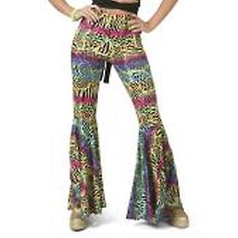 Hippiehose Animal Schlaghose Damenkostüm 60er Jahre Hippie Flower Power Mottoparty Volanthose Kostüm Damen