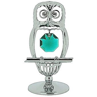 Crystocraft Hooting Tooting Owl Free Standing Chrome Plated Ornament Made With Swarovski Crystals